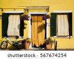 yellow house  flowers and a... | Shutterstock . vector #567674254