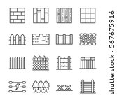 wall and fence line icon set.... | Shutterstock .eps vector #567675916