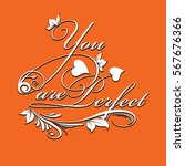 you are perfect.calligraphic... | Shutterstock .eps vector #567676366