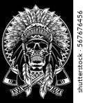 skull of native american... | Shutterstock .eps vector #567676456