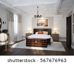 spacious bedroom mediterranean... | Shutterstock . vector #567676963