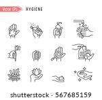 simple set of hygiene related... | Shutterstock .eps vector #567685159