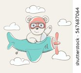 child bear flying in the sky on ... | Shutterstock .eps vector #567687064