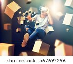 visual reality concept.young... | Shutterstock . vector #567692296
