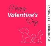 happy valentine card with cat... | Shutterstock .eps vector #567705724