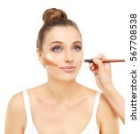 contouring.make up woman face....   Shutterstock . vector #567708538
