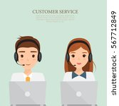 man and woman wearing headsets... | Shutterstock .eps vector #567712849
