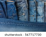 Blue Jeans Pants Clothes Pile...