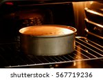 double layer cake in hot oven ... | Shutterstock . vector #567719236