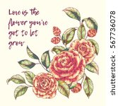 Vector Hand Drawn Bouquet Of...