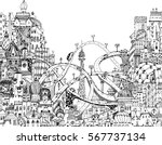 modern city illustration with a ... | Shutterstock .eps vector #567737134