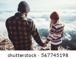 couple man and woman walking... | Shutterstock . vector #567745198