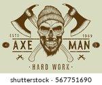 lumberjack bearded skull with... | Shutterstock .eps vector #567751690