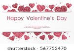poster with hearts from pink... | Shutterstock .eps vector #567752470
