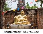 Happy Buddha On Turtle Statue...