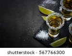 tequila shot with lime and sea...   Shutterstock . vector #567766300