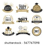 graduation 2017 badges  signs... | Shutterstock .eps vector #567767098