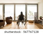 young disabled woman in... | Shutterstock . vector #567767128