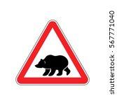 Bear Warning Sign Red. Predator ...