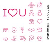 i love you text line icon... | Shutterstock .eps vector #567772138