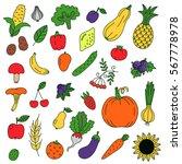 fruits and vegetables doodles... | Shutterstock .eps vector #567778978