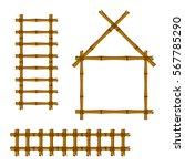 set of bamboo frame on white... | Shutterstock .eps vector #567785290