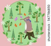 vector drawn card with a forest ... | Shutterstock .eps vector #567786850