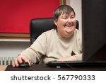 Mentally Disabled Woman Sittin...