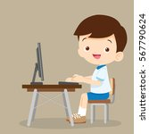 cute student boy working with... | Shutterstock .eps vector #567790624