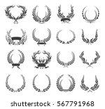 set of laurel wreaths and... | Shutterstock .eps vector #567791968