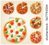pizza top view set. italian... | Shutterstock .eps vector #567793504