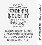 Stock vector font denim industry craft retro vintage typeface design youth fashion type flair serif textured 567796330