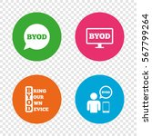 byod icons. human with notebook ... | Shutterstock .eps vector #567799264