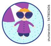 infant girl in big sunglasses.... | Shutterstock .eps vector #567802606