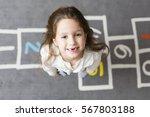 six years preschool girl... | Shutterstock . vector #567803188