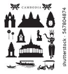 cambodia landmarks and culture... | Shutterstock .eps vector #567804874