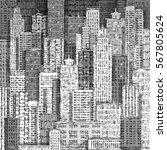 cityscape building line art... | Shutterstock .eps vector #567805624