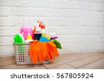 basket with cleaning items on...   Shutterstock . vector #567805924