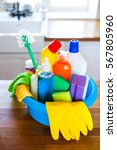 basket with cleaning items on...   Shutterstock . vector #567805960