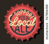 beer bottle cap top view with... | Shutterstock .eps vector #567806488