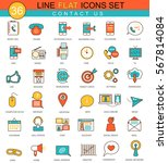 contact us flat line icon set. ... | Shutterstock . vector #567814084