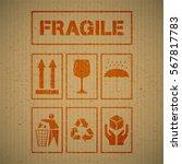 grunge package handling labels... | Shutterstock .eps vector #567817783