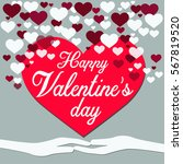 gray background happy valentine ... | Shutterstock .eps vector #567819520
