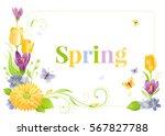 flower frame isolated white... | Shutterstock .eps vector #567827788