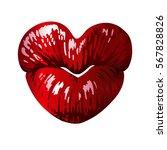 heart shaped female lips  love... | Shutterstock .eps vector #567828826