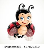coquettish cute ladybug flies... | Shutterstock .eps vector #567829210