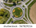 Aerial View Of Roundabout In...
