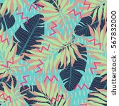 summer exotic floral tropical... | Shutterstock .eps vector #567832000