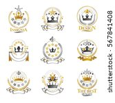 royal crowns emblems set.... | Shutterstock .eps vector #567841408
