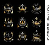 imperial crowns emblems set.... | Shutterstock .eps vector #567841438